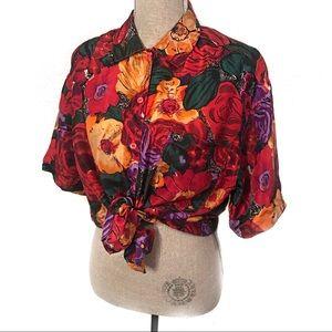 Gorgeous roses Vintage 100% silk blouse top